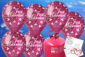 Luftballons-zur-Hochzeit-steigen-lassen-Just-Married-Rund-Luftballons-Burgund-Helium-Einweg-Set-mit-Ballonflugkarten